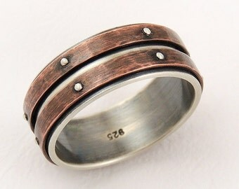 mens wedding band ring men engagement ringsilver copper ringmens ring - Unique Wedding Ring