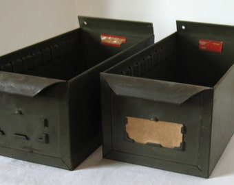 Pair of Industrial Military Green Factory Parts Drawers