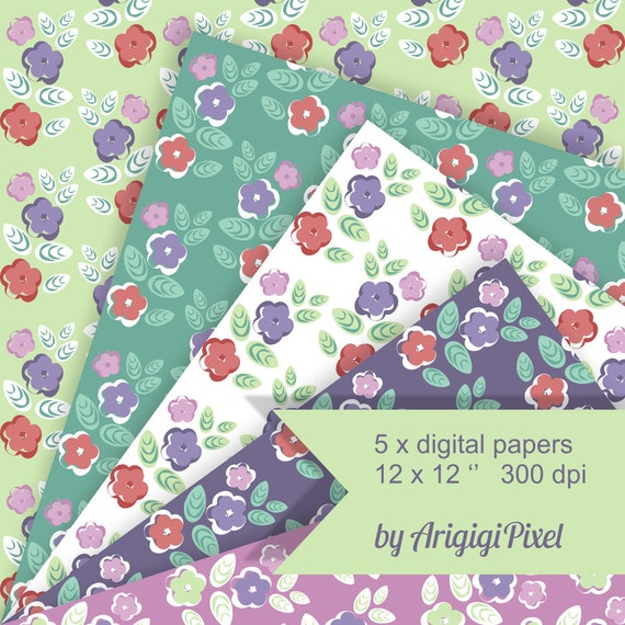 flowers digital papers, spring scrapbooking papers, seamless patterned papers, retro style, green purple, scrapbook download