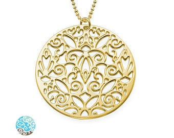 18K Gold Plated Sterling Silver Vintage Filigree Necklace