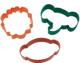 Party Jungle Elephant, Lion and Monkey Colored Cookie Cutter Theme Set, Boys Cookies, Birthday Sugar Cookies, Fondant Cutters, Clay Cutters