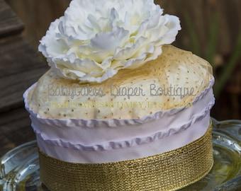 Gold Baby Shower   Diaper Cake   Diaper Cake Centerpiece Gold