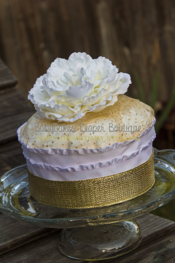 Gold Baby Shower | Diaper Cake | Diaper Cake Centerpiece Gold