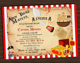 Pirate themed birthday invitation