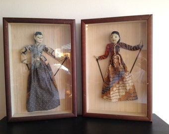 Pair of Wayang Golek Indonesian Rod Stick Puppets in Shadowboxes with Teak Frame