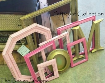 Pink and Gold Girl Nursery Frame Set and Letter/ Baby Nursery Gallery Wall/ Shades of Pink/ Picture Frames/ Petticoat Collection