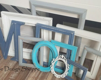 Turquoise, Indigo, Gray, White Frame Set, Extra Large Letter, Gallery Wall Frames, Painted Picture Frame, Waterfall Collection