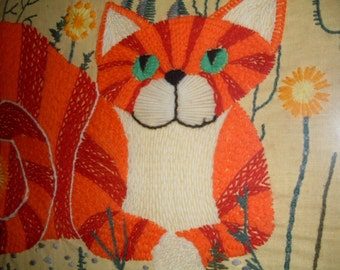 Vintage Embroidered Cat Picture, Framed with Glass, Unique Cat Picture, Home Decor, Orange Home Decor, Cat Decor, Cheshire Cat
