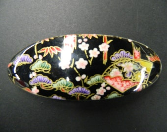 Vintage oval floral hair barrette clip on bamboo