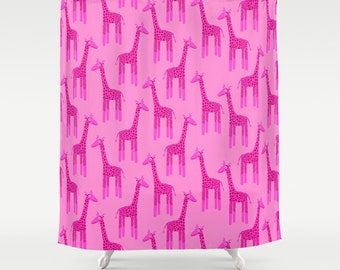 Pink Giraffe Shower Curtain, Pink Shower Curtain, Pink Bathroom Decor, Pink Bathroom  Accessories