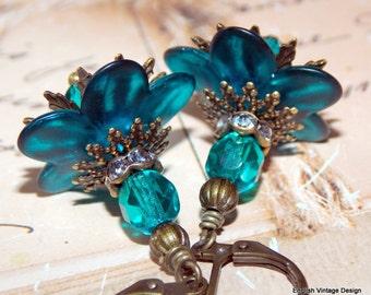 Lucite Earrings, Flower Earrings, Victorian Earrings, Boho Earrings, Drop Earrings, Teal Earrings, Brass, Hand Painted Earrings