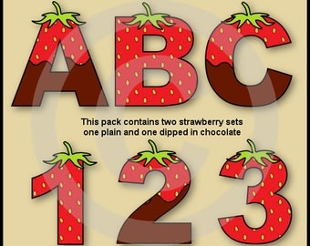 Strawberry Alphabet/Letters & Numbers Clip Art Graphics