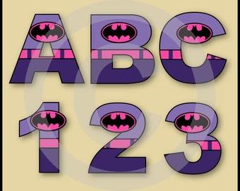 Batgirl Alphabet Letters & Numbers Clip Art Graphics