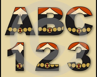 Black Widow (Avengers) Alphabet Letters & Numbers Clip Art Graphics
