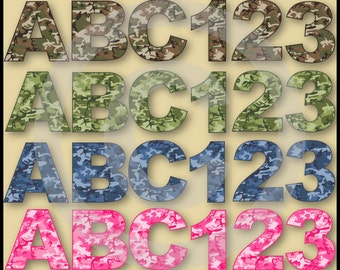 Camouflage Alphabet & Numbers Clip Art Collection
