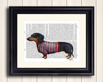Dachshund with Woolly Sweater - Dachshund print, doxie print Dachshund illustration, Dachshund picture doxie decor doxie sweater doxie lover
