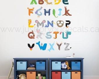 Alphabet Wall Decal - Playroom Wall Decal - Animal Alphabet Wall Decal - Animal Wall Decal - Playroom Wall Decal Nursery Wall Decal 01-0007