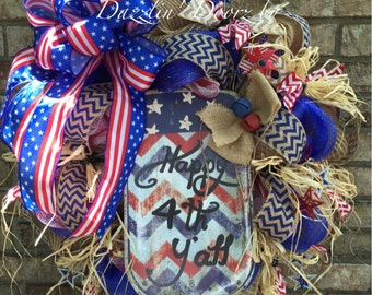 Happy 4th Y'all Welcome Wreath