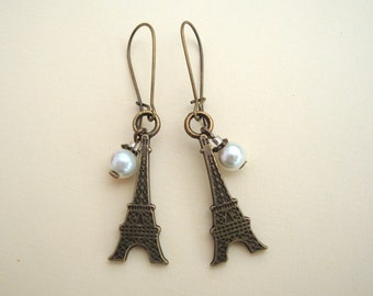 Eiffel Tower earrings, Paris antique bronze charms, ivory glass pearl bead