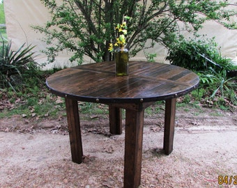 Rustic Whiskey Barrel Style Kitchen Table, Rustic WIne Barrel Table, Reclaimed Wood Table, Rustic Table, Pub Table, Barn Table, Restaurant
