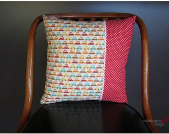 retro cars in red dots and denim cushion