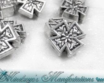 Antq Silver Finish Maltese Cross Beads 8x8mm