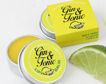 Gin & Tonic Lip Balm, Yellow, Lemon, Lime, Juniper, Stocking Filler.
