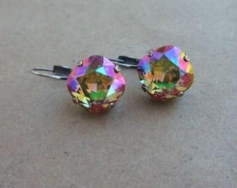 """Swarovski Cushion Cut """"purple haze"""" Crystal Earrings set in Antique Silver"""