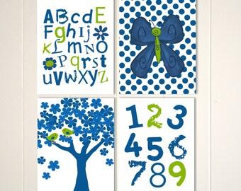 Butterfly nursery art, baby girl nursery, abc nursery art, 123 nursery art, alphabet, numbers wall art, custom colors, set of 4