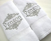 YOU PICK Thread Color, towel, bathroom, personalized gift, embroidered  towels, bathroom, wedding gift, custom towels, august ave, custom