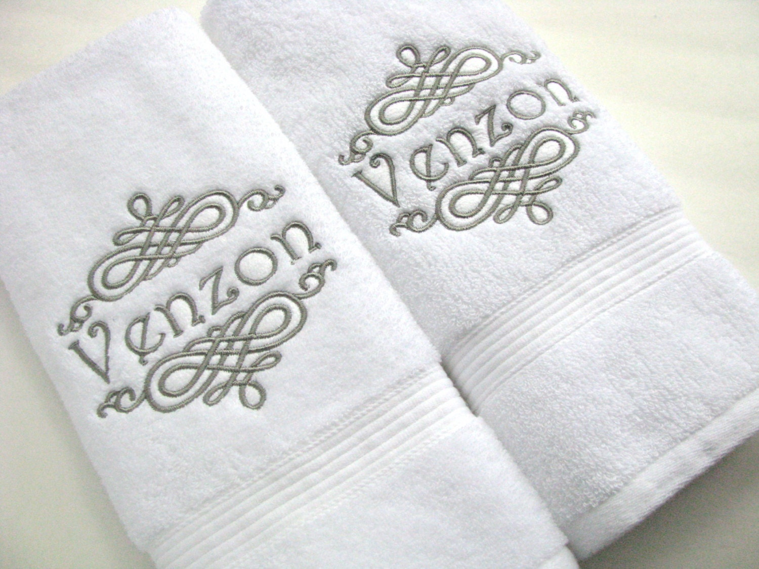 You pick thread color towel bathroom personalized gift