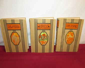 YOUNG FOLK'S LIBRARY 3 books 1945 Famous Explorers, Animal Story,The Story Teller