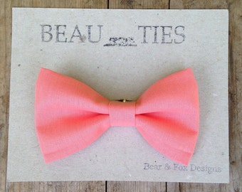 Baby Boy Toddler clip-on bow tie Coral