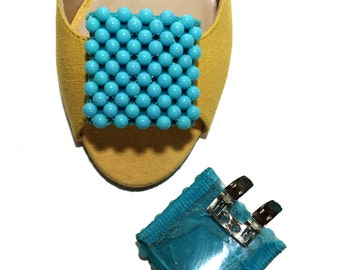 Vintage Shoe Clips - Turquoise Blue Beads