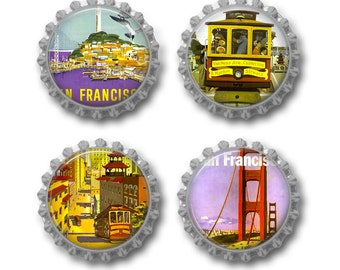 San Francisco magnets travel wedding favors Golden Gate Bridge. Set of 4.  Comes with magnetic gift tag.