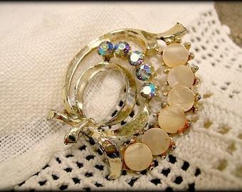 Vintage Brooch AB Rhinestones and Mother of Pearl