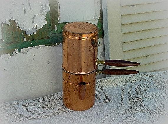 Neapolitan Flip Coffee Pot ~ Vintage coffee pot copper neapolitan flip piece by