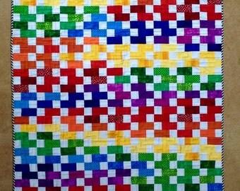 Rainbow Colored Squares Quilt