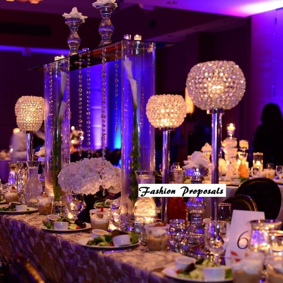 10 wedding candelabra glass beaded candle by fashionproposals for Buy wedding centerpieces