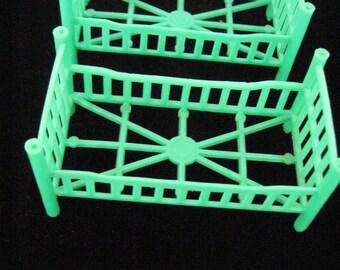 1950-60s Green Plastic Dolls Beds