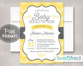 Baby Shower Invitation, Yellow & Gray Chevron Baby Shower, DIY Printable Baby Shower Invitation - #BA001
