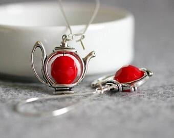 Teapot Earrings, Red Earrings, Red Silver Earrings, Red Tea Pot Earrings, Teapot Jewelry, Long Earrings, Dangle Earrings, Tea Party Earring