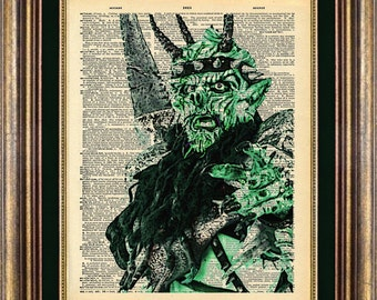 Oderus Urungus R.I.P. Book page art Vintage Dictionary Page Up Cycled GWAR