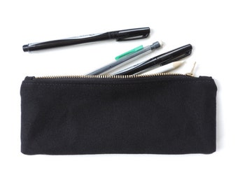 Canvas Pencil Case Zipper Pencil Pouch Black