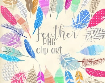 INSTANT DOWNLOAD - feather png clip art files - set of 35 feathers -- E020 - design elements