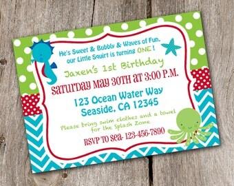 Under the Sea Ocean Birthday Invitation