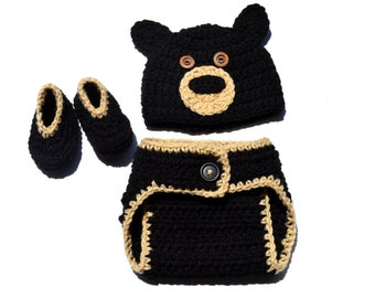 Crochet Black Bear Baby Set, Diaper Cover, Bear Hat, Boys Booties, Crochet Baby Outfit, Newborn Photo Prop, Baby Shower Gift, Black Baby Hat