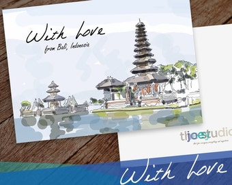 Bali Greeting card, With Love Travel Greeting Card, With Love from Bali, Indonesia 5x7 card blank inside with white envelope.
