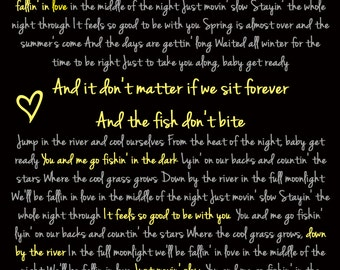 Fishin in the Dark Wedding Lyric Print Custom Wedding First Dance Print