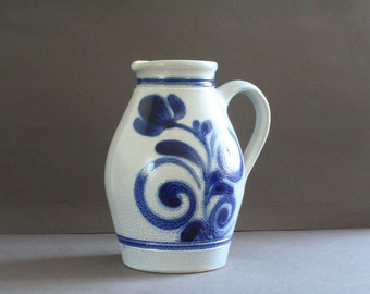 "vintage french blue pitcher ""quimper style"""